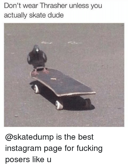 Dude, Fucking, and Instagram: Don't wear Thrasher unless you  actually skate dude @skatedump is the best instagram page for fucking posers like u