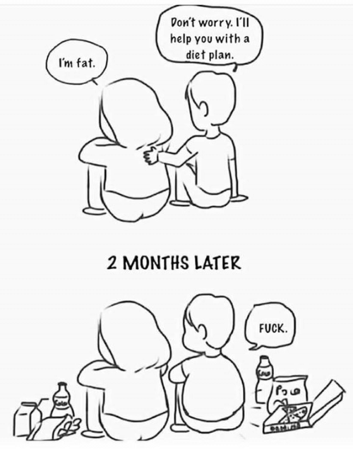 Im Fat: Don't worry. I'll  help you with a  diet plan  I'm fat.  2 MONTHS LATER  FUCK