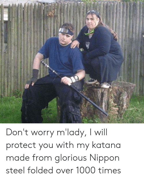Glorious Nippon Steel: Don't worry m'lady, I will protect you with my katana made from glorious Nippon steel folded over 1000 times