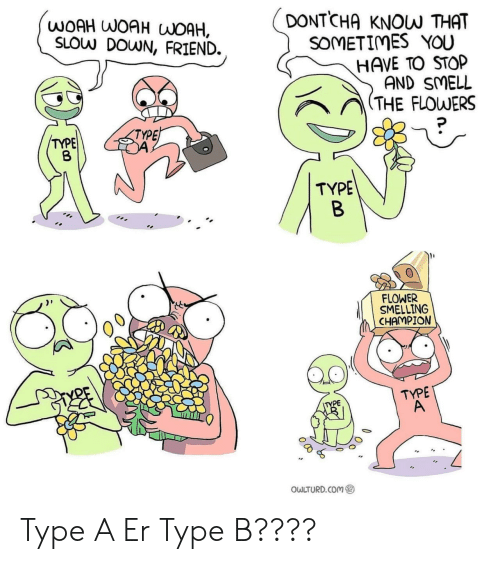 smelling: DONTCHA  WOAH WOAH WOAH,  SLOW DOWN, FRIEND.  KNOW THAT  SOMETIMES YOU  HAVE TO STOP  AND SMELL  (THE FLOWERS  TYPE  TYPE  TYPE  B  FLOWER  SMELLING  CHAMPION  TYPE  A  TYPE  OWLTURD.COM Type A Er Type B????