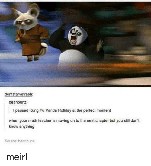 Kung Fu Panda: dontstarvetrash:  beanbunz:  I paused Kung Fu Panda Holiday at the perfect moment  when your math teacher is moving on to the next chapter but you still don't  know anything  Source: beanbunz meirl