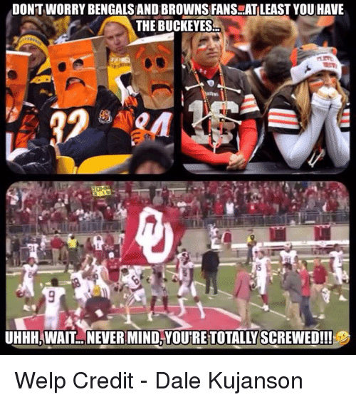 Nfl, Bengals, and Browns: DONTWORRY BENGALS AND BROWNS FANS..AT LEAST YOU HAVE  THE BUCKEYES  UHHH,WAIT. NEVER MIND,YOU'RE TOTALLY SCREWED!!! Welp  Credit - Dale Kujanson