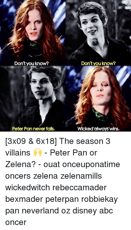peterpan: Don'tyou know?  ON  SCENE  Peter Pan never fails.  Don't you know?  Wicked aways wins [3x09 & 6x18] The season 3 villains 🙌 - Peter Pan or Zelena? - ouat onceuponatime oncers zelena zelenamills wickedwitch rebeccamader bexmader peterpan robbiekay pan neverland oz disney abc oncer