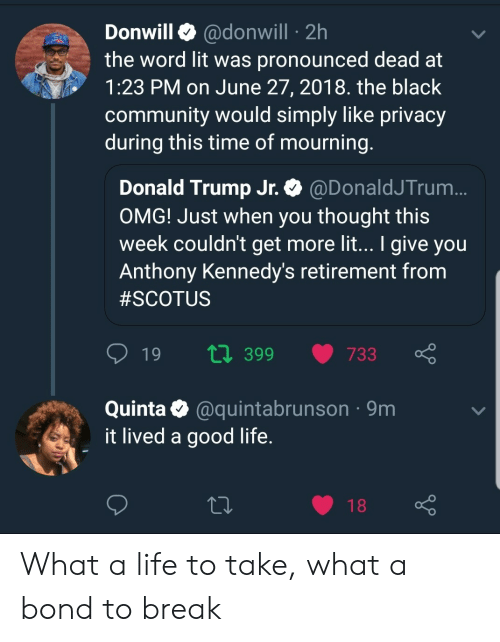 donald trump jr: Donwill @donwill 2h  the word lit was pronounced dead at  1:23 PM on June 27, 2018. the black  community would simply like privacy  during this time of mourning  Donald Trump Jr. @DonaldJTrum  OMG! Just when you thought this  week couldn't get more lit... I give you  Anthony Kennedy's retirement from  #SCOTUS  t0 399 733  Quinta @quintabrunson 9m  it lived a good life  18 What a life to take, what a bond to break