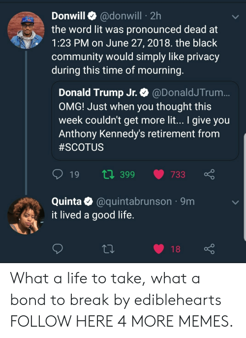 donald trump jr: Donwill @donwill 2h  the word lit was pronounced dead at  1:23 PM on June 27, 2018. the black  community would simply like privacy  during this time of mourning  Donald Trump Jr. @DonaldJTrum  OMG! Just when you thought this  week couldn't get more lit... I give you  Anthony Kennedy's retirement from  #SCOTUS  t0 399 733  Quinta @quintabrunson 9m  it lived a good life  18 What a life to take, what a bond to break by ediblehearts FOLLOW HERE 4 MORE MEMES.
