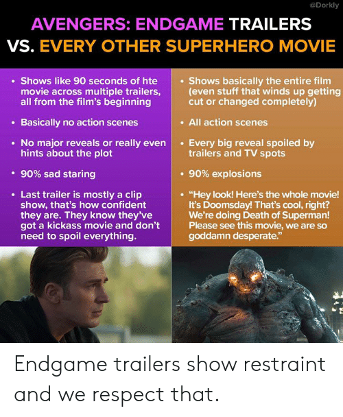 """Superhero Movie: @Dorkly  AVENGERS: ENDGAME TRAILERS  VS. EVERY OTHER SUPERHERO MOVIE  Shows like 90 seconds of hte  movie across multiple trailers,(even stuff that winds up getting  all from the film's beginning  Shows basically the entire film  cut or changed completely)  . All action scenes  Basically no action scenes  No major reveals or really evenEvery big reveal spoiled by  hints about the plot  trailers and TV spots  . 90% sad staring  . 90% explosions  Last trailer is mostly a clip  show, that's how confident  they are. They know they've  got a kickass movie and don't  need to spoil everything.  """"Hey look! Here's the whole movie!  It's Doomsday! That's cool, right?  We're doing Death of Superman!  Please see this movie, we are so  goddamn desperate.""""  92 Endgame trailers show restraint and we respect that."""