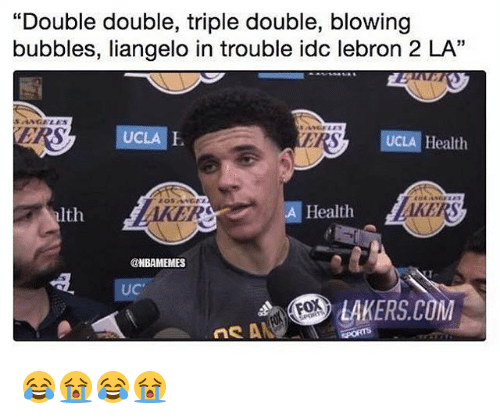 "Los Angeles Lakers, Nba, and Lebron: ""Double double, triple double, blowing  bubbles, liangelo in trouble idc lebron 2 LA""  RS  UCLA E  ERS  UCLA Health  03  Ith  AKER  A Health  AKERS  HBAMEMES  UC  LAKERS.COM 😂😭😂😭"