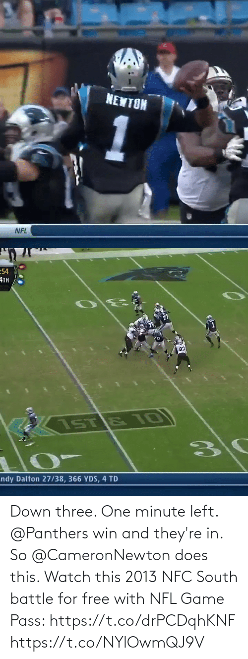 pass: Down three. One minute left. @Panthers win and they're in. So @CameronNewton does this.   Watch this 2013 NFC South battle for free with NFL Game Pass: https://t.co/drPCDqhKNF https://t.co/NYlOwmQJ9V