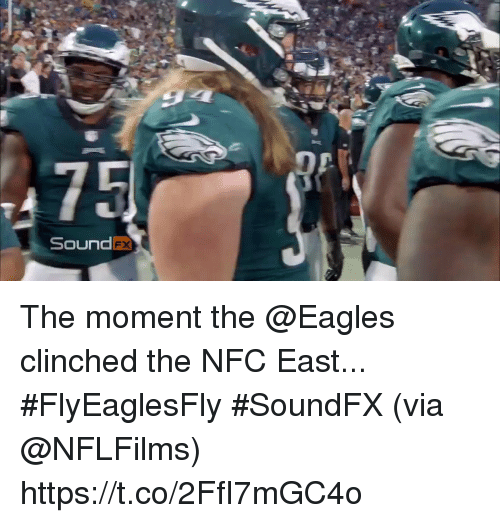 nfc east: DP  SoundFx The moment the @Eagles clinched the NFC East... #FlyEaglesFly #SoundFX  (via @NFLFilms) https://t.co/2FfI7mGC4o