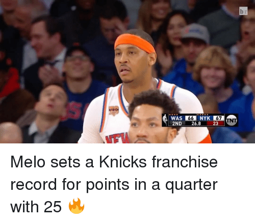 Sports, Franchise, and Quarter: Dr  66  2ND 26.8 23  WU Melo sets a Knicks franchise record for points in a quarter with 25 🔥
