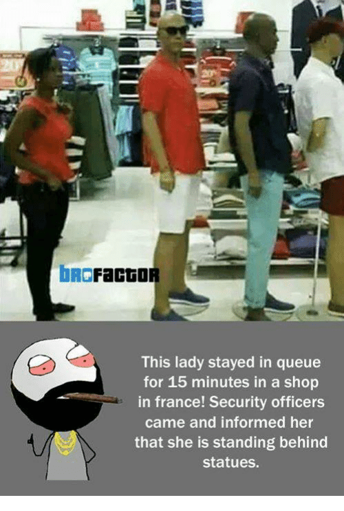 Memes, France, and Information: DR Facto  This lady stayed in queue  for 15 minutes in a shop  in france! Security officers  came and informed her  that she is standing behind  statues.