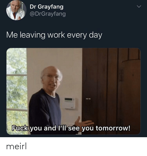 see you tomorrow: Dr Grayfang  @DrGrayfang  Me leaving work every day  Fuck you and l'll see you tomorrow! meirl
