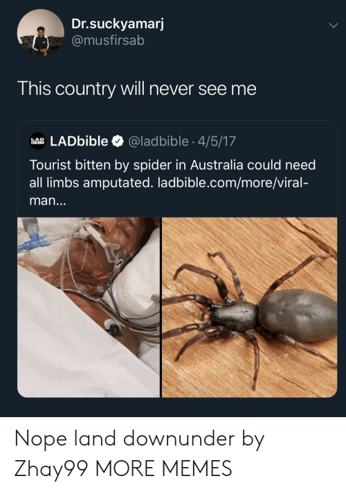 bitten: Dr.suckyamarj  @musfirsab  This country will never see me  LADbible  @ladbible 4/5/17  LAD  BIBLE  Tourist bitten by spider in Australia could need  all limbs amputated. ladbible.com/more/viral-  man... Nope land downunder by Zhay99 MORE MEMES