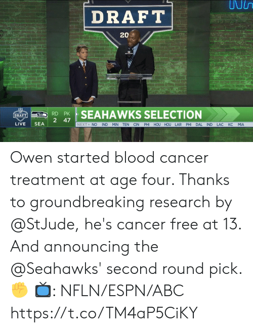 owen: DRAFT  202  RSEAHAWKS SELECTION  2 47  LIVE SEA  NEXT> NO IND MIN TEN CIN PHI HOU HOU LAR PHI DAL IND LAC KC MIA Owen started blood cancer treatment at age four. Thanks to groundbreaking research by @StJude, he's cancer free at 13.  And announcing the @Seahawks' second round pick. ✊  📺: NFLN/ESPN/ABC https://t.co/TM4aP5CiKY