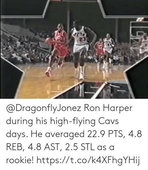 cavs: @DragonflyJonez Ron Harper during his high-flying Cavs days.   He averaged 22.9 PTS, 4.8 REB, 4.8 AST, 2.5 STL as a rookie!   https://t.co/k4XFhgYHij