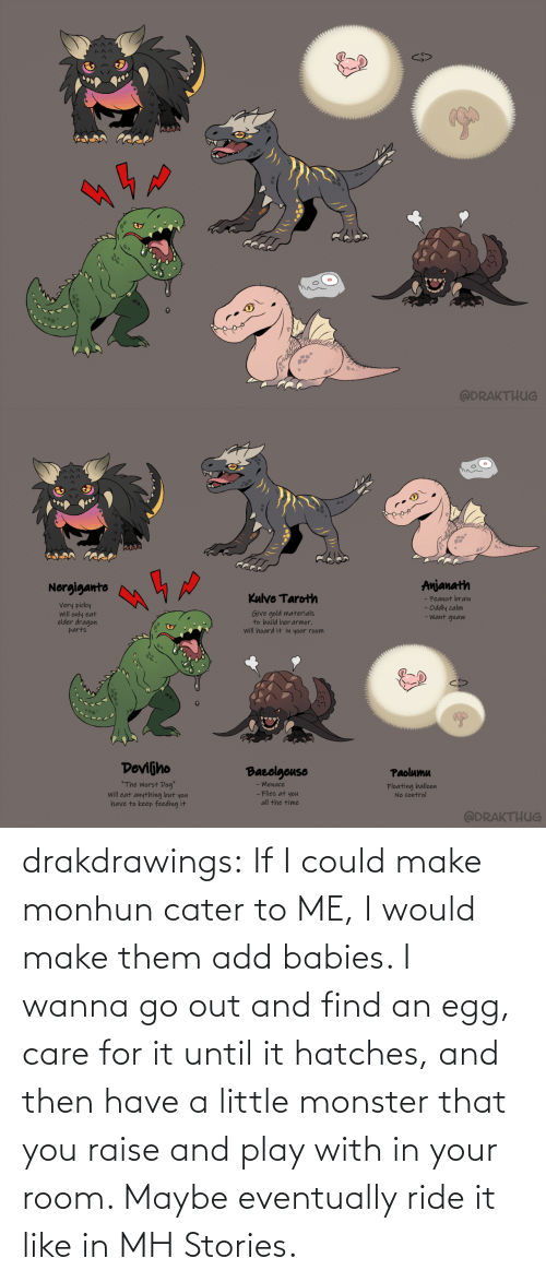 ride it: drakdrawings:    If I could make monhun cater to ME, I would make them add babies. I wanna go out and find an egg, care for it until it hatches, and then have a little monster that you raise and play with in your room. Maybe eventually ride it like in MH Stories.
