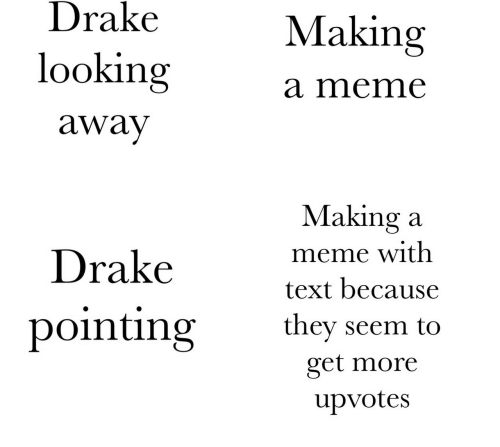 looking away: Drake  looking  away  Making  a meme  Drakevet h  pointing they seem to  Making a  meme with  text because  get more  upvotes