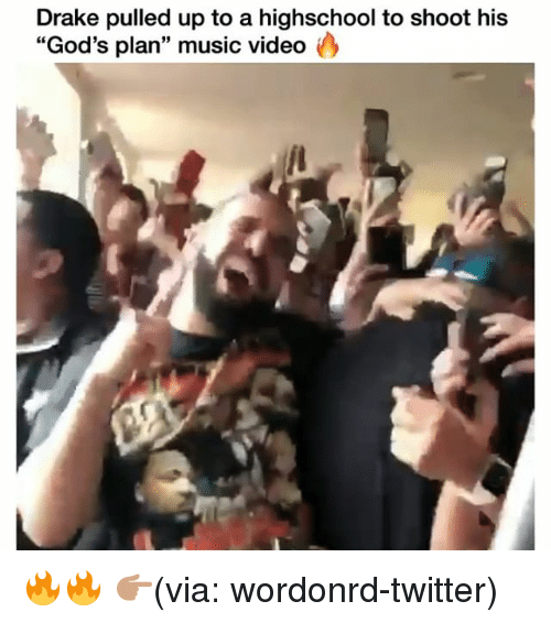 "Drake, Funny, and Music: Drake pulled up to a highschool to shoot his  ""God's plan"" music video 🔥🔥 👉🏽(via: wordonrd-twitter)"
