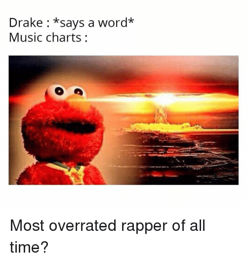 Drake, Music, and Time: Drake : *says a word*  Music charts: Most overrated rapper of all time?