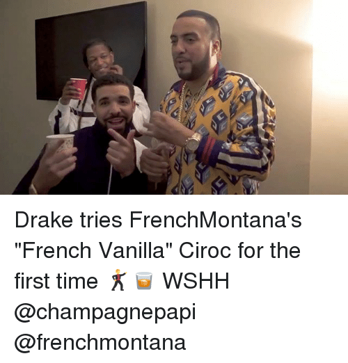 "Draked: Drake tries FrenchMontana's ""French Vanilla"" Ciroc for the first time 🕺🥃 WSHH @champagnepapi @frenchmontana"