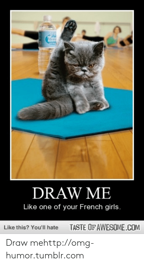 draw me like one of your french girls: DRAW ME  Like one of your French girls.  TASTE OF AWESOME.COM  Like this? You'll hate Draw mehttp://omg-humor.tumblr.com