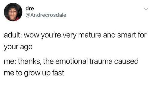 mature: dre  @Andrecrosdale  adult: wow you're very mature and smart for  your age  me: thanks, the emotional trauma caused  me to grow up fast