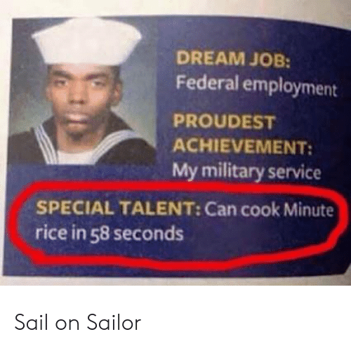 Military Service: DREAM JOB:  Federal employment  PROUDEST  ACHIEVEMENT:  My military service  SPECIAL TALENT: Can cook Minute  rice in 58 seconds Sail on Sailor