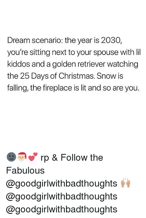 Christmas, Lit, and Golden Retriever: Dream scenario: the year is 2030,  you're sitting next to your spouse with lil  kiddos and a golden retriever watching  the 25 Days of Christmas. Snow is  falling, the fireplace is lit and so are you. 🌚🎅🏼💕 rp & Follow the Fabulous @goodgirlwithbadthoughts 🙌🏽 @goodgirlwithbadthoughts @goodgirlwithbadthoughts