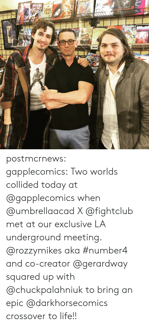 squared: Dreami  NEW postmcrnews: gapplecomics:Two worlds collided today at @gapplecomics when @umbrellaacad X @fightclub met at our exclusive LA underground meeting. @rozzymikes aka #number4 and co-creator @gerardway squared up with @chuckpalahniuk to bring an epic @darkhorsecomics crossover to life!!