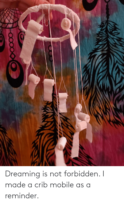 dreaming: Dreaming is not forbidden. I made a crib mobile as a reminder.
