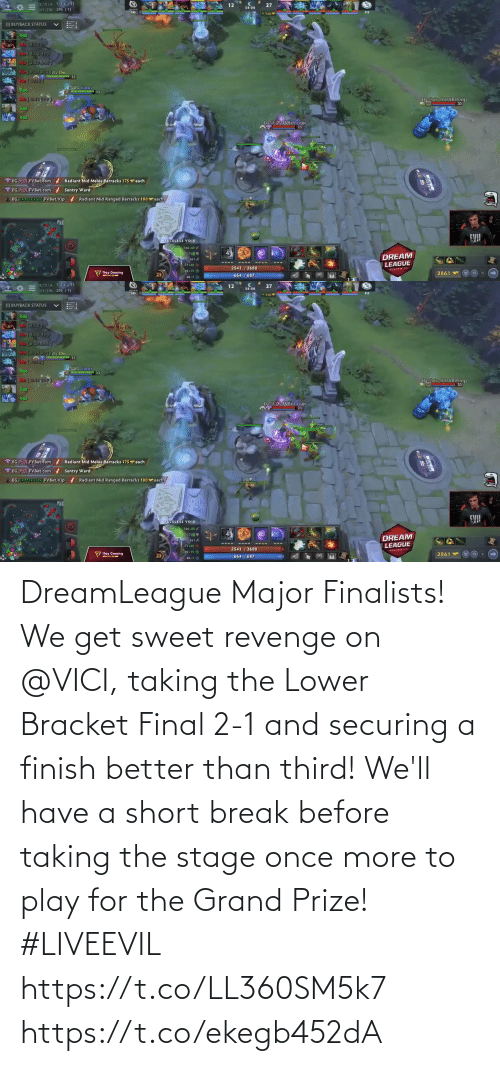 prize: DreamLeague Major Finalists!  We get sweet revenge on @VICI, taking the Lower Bracket Final 2-1 and securing a finish better than third!   We'll have a short break before taking the stage once more to play for the Grand Prize! #LIVEEVIL  https://t.co/LL360SM5k7 https://t.co/ekegb452dA