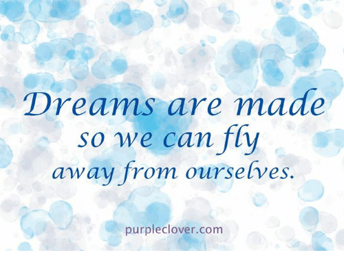 "memes: Dreams are made  so we can ""fly  away from ourse  lves  .  purpleclove r.com"