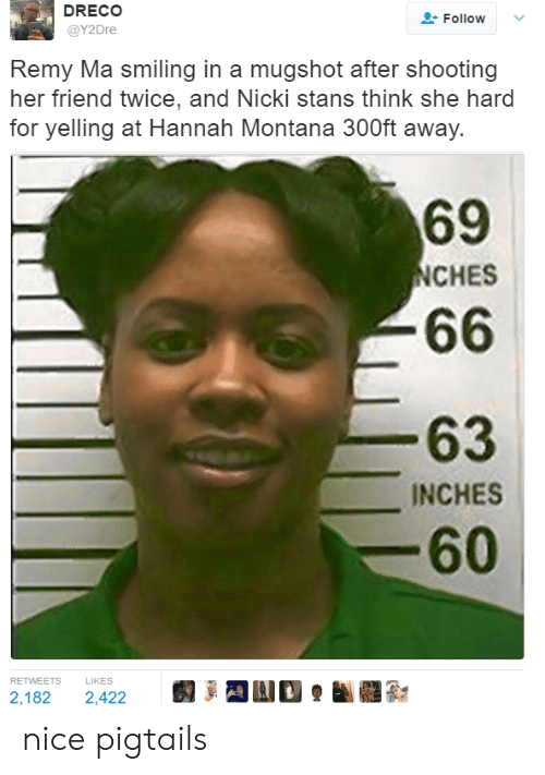 remy ma: DRECO  @Y2Dre  Follow  .  Remy Ma smiling in a mugshot after shooting  her friend twice, and Nicki stans think she hard  for yelling at Hannah Montana 300ft away.  69  NCHES  63  INCHES  60  RETWEETS LIKES  2,182 2,422 nice pigtails