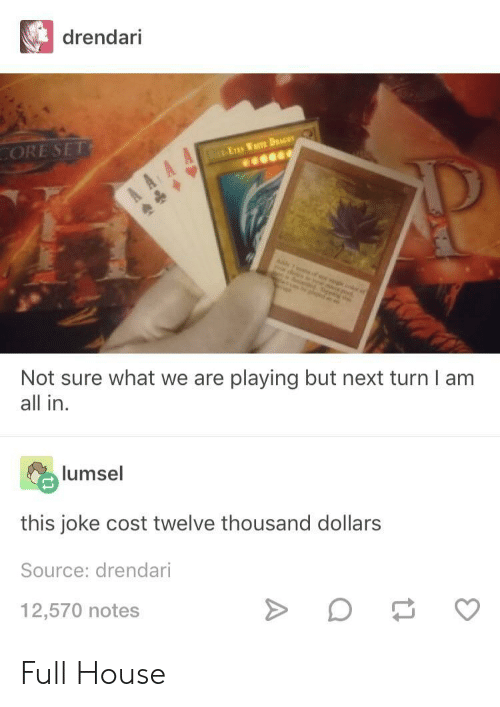 Full House: drendari  ORE SET  Not sure what we are playing but next turn I am  all in  lumsel  this joke cost twelve thousand dollars  Source: drendari  12,570 notes Full House