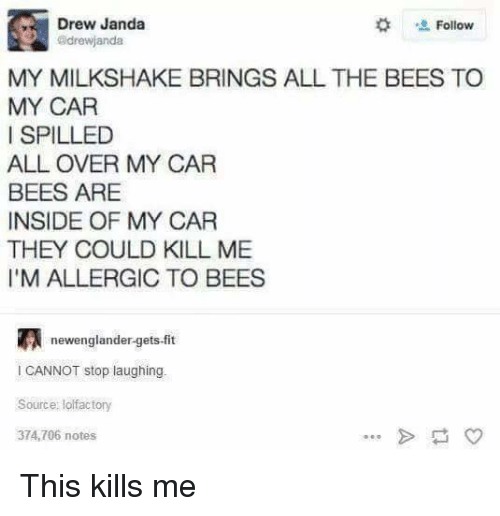 Funny, All The, and Bees: Drew Janda  Follow  adrewjandat  MY MILKSHAKE BRINGS ALL THE BEES TO  MY CAR  I SPILLED  ALL OVER MY CAR  BEES ARE  INSIDE OF MY CAR  THEY COULD KILL ME  l'M ALLERGIC TO BEES  newenglandergets-fit  l CANNOT stop laughing  Source: lolfactory  374,706 notes This kills me