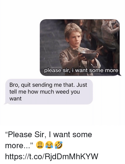 "Some More, Weed, and How: drgrayfan  please sir, i want some more  Bro, quit sending me that. Just  tell me how much weed you  want ""Please Sir, I want some more..."" 😩😂🤣 https://t.co/RjdDmMhKYW"