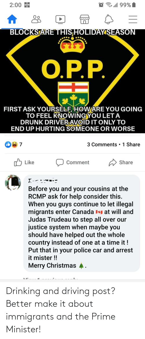 drinking and driving: Drinking and driving post? Better make it about immigrants and the Prime Minister!