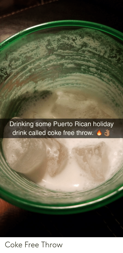 puerto rican: Drinking some Puerto Rican holiday  drink called coke free throw. Coke Free Throw