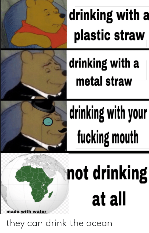 plastic: drinking with a  plastic straw  drinking with a  metal straw  drinking with your  fucking mouth  not drinking  at all  made with water they can drink the ocean