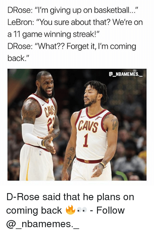 "Basketball, Memes, and Game: DRose: ""I'm giving up on basketball...""  LeBron: ""You sure about that? We're on  a 11 game winning streak!""  DRose: ""What?? Forget it, I'm coming  back.""  @_ABAMEMEs.一  CANS D-Rose said that he plans on coming back 🔥👀 - Follow @_nbamemes._"