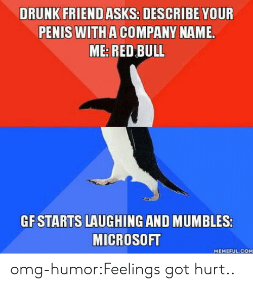mumbles: DRUNK FRIEND ASKS: DESCRIBE YOUR  PENIS WITH A COMPANY NAME.  ME: RED BULL  GF STARTS LAUGHING AND MUMBLES:  MICROSOFT  MEMEFUL.COM omg-humor:Feelings got hurt..