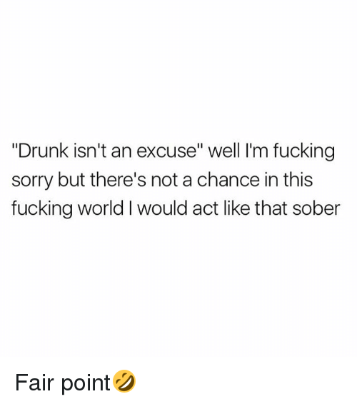"Drunk, Fucking, and Sorry: ""Drunk isn't an excuse"" well I'm fucking  sorry but there's not a chance in this  fucking world I would act like that sober Fair point🤣"