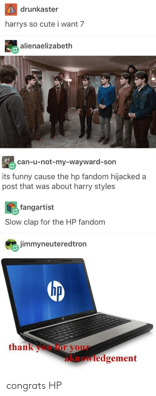 Harry Styles: drunkaster  harrys  so cute i want 7  alienaelizabeth  can-u-not-my-wayward-son  its funny cause the hp fandom hijacked a  post that was about harry styles  fangartist  Slow clap for the HP fandom  jimmyneuteredtron  hp  thankoor your  knowledgement congrats HP