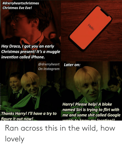 trying to flirt:  #drxrryheartschristmas  Christmas Eve Eve!  Hello  Hey Draco, I got you an early  Christmas present! It's a muggle  invention called iPhone.  @drxrryheart  On Instagram  Later on:  Harry! Please help! A bloke  named Siri is trying to flirt with  me and some shit called Google  Thanks Harry! 'll have a try to  figure it out now!  wants to know mu locationll Ran across this in the wild, how lovely