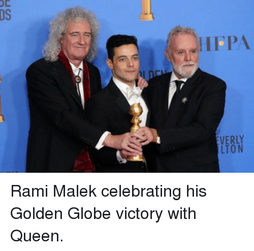 golden globe: DS  HFPA  LTON Rami Malek celebrating his Golden Globe victory with Queen.