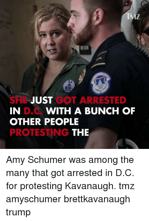 Protesting: DS  SHL JUST GOT ARRESTED  IN  OTHER PEOPLE  PROTESTING  D.C  WITH A BUNCH OF  THE Amy Schumer was among the many that got arrested in D.C. for protesting Kavanaugh. tmz amyschumer brettkavanaugh trump