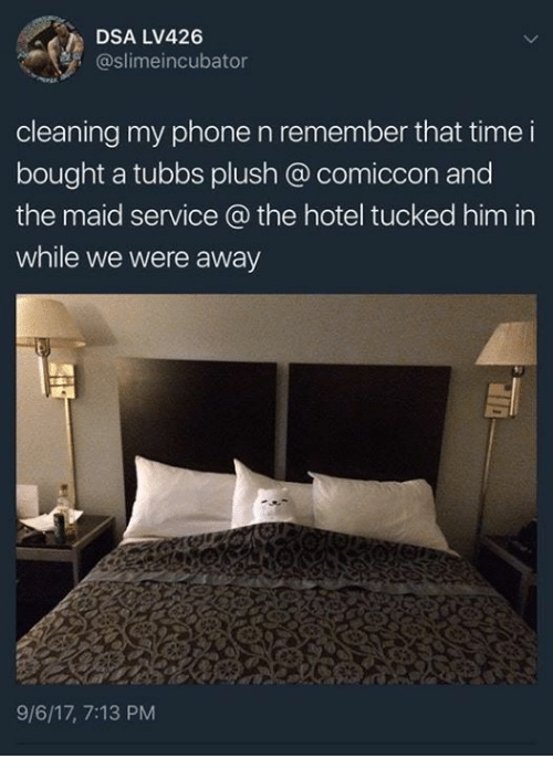 maids: DSA LV426  @slimeincubator  cleaning my phone n remember that time i  bought a tubbs plush @ comiccon and  the maid service @ the hotel tucked him in  while we were away  9/6/17, 7:13 PM