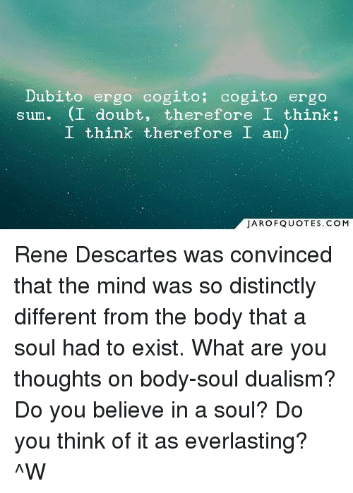 a report on descartes on body and soul