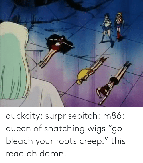 "creep: duckcity:  surprisebitch: m86: queen of snatching wigs ""go bleach your roots creep!"" this read   oh damn."