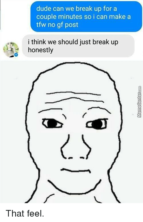 Memes, Tfw, and Break Up: dude can we break up for a  couple minutes so i can make a  tfw no gf post  i think we should just break up  honestly That feel.